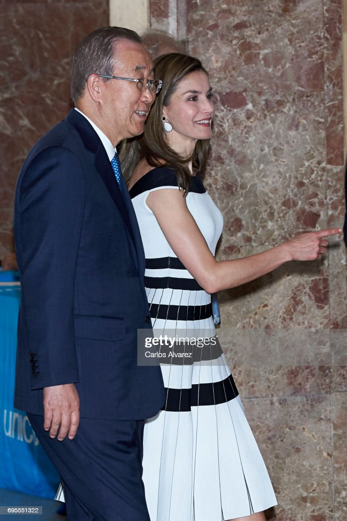 Queen Letizia of Spain and Former U.N. Secretary General Ban Ki Moon attend the UNICEF awards 2017 at CESIC on June 13, 2017 in Madrid, Spain.