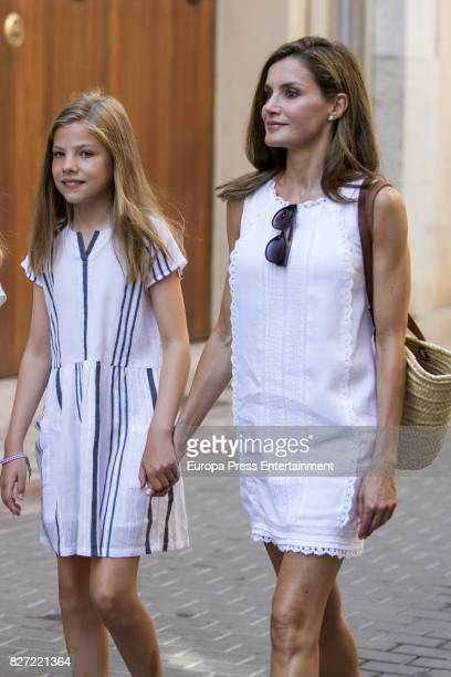 Queen Letizia of Spain and her daughter Princess Sofia of Spain visit the Can Prunera Museum on August 6 2017 in Palma de Mallorca Spain