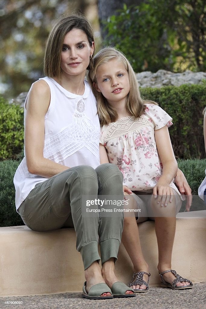 Queen Letizia of Spain and her daugther Princess Leonor of Spain pose for the photographers at the Marivent Palace on August 3, 2015 in Palma de Mallorca, Spain.