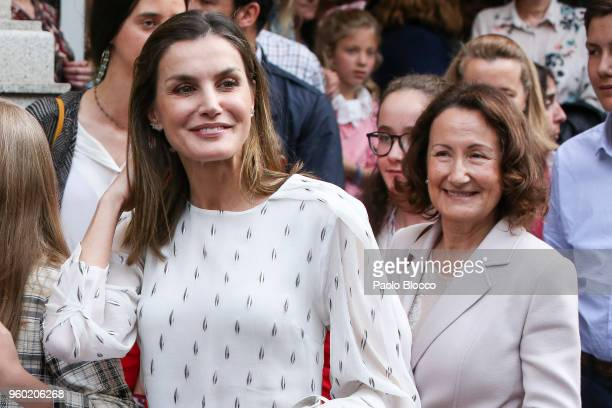 Queen Letizia of Spain and her mother Paloma Rocasolano are seen after going to see the 'Billy Elliot' theatre play on May 19 2018 in Madrid Spain