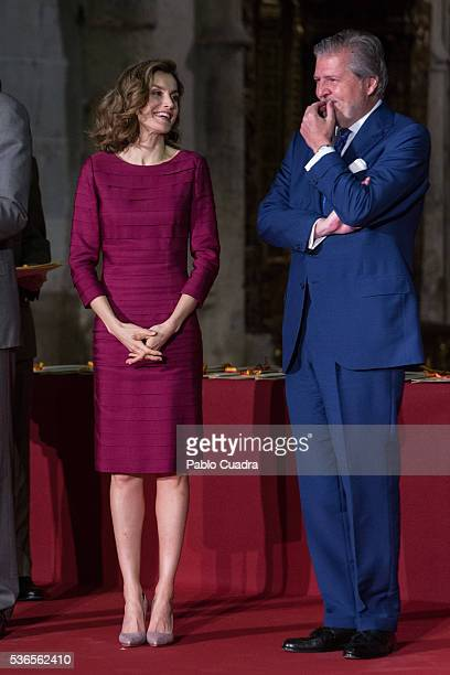 Queen Letizia of Spain and Inigo Mendez de Vigo attend 'National Culture Awards' at San Antolin Cathedral on June 1 2016 in Palencia Spain