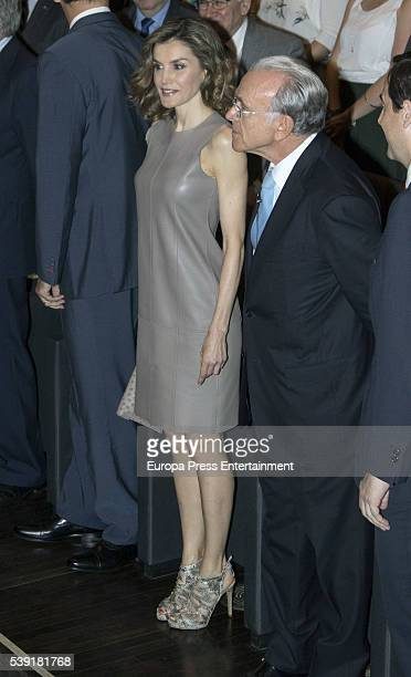 Queen Letizia of Spain and Isidro Faine deliver 'La Caixa' scholarships on June 10 2016 in Madrid Spain