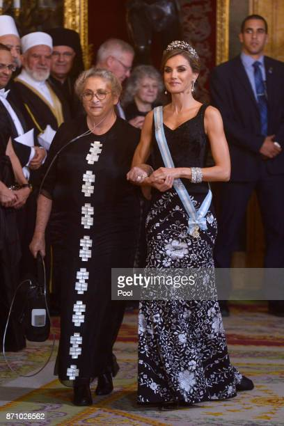 Queen Letizia of Spain and Israeli President wife Nechama Rivlin attend a Gala Dinner at the Royal Palace on November 6, 2017 in Madrid, Spain.