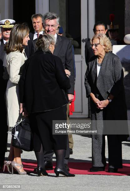 Queen Letizia of Spain and Israel's president's wife say hello to Manuela Carmena at Royal Palace on November 6, 2017 in Madrid, Spain.