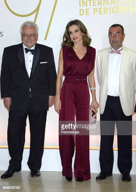 Queen Letizia of Spain and Jose Luis Garci attend the 'Mariano de Cavia' 'Luca de Tena' and 'Mingote' Journalism awards dinner at Casa de ABC on...