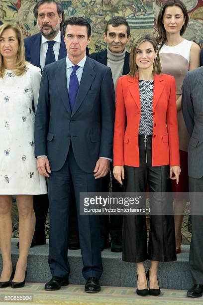 Queen Letizia of Spain and Jose Manuel Soria attend audiences at Zarzuela Palace on April 13 2016 in Madrid Spain