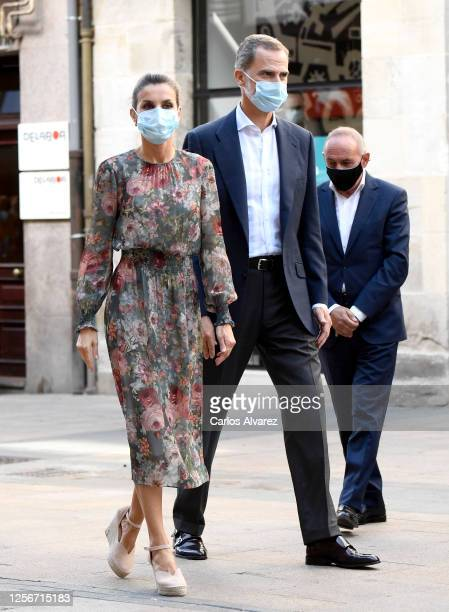 Queen Letizia of Spain and King Felipe of Spain after a visit to the new headquarters of the San Prudencio Foundation on July 17 2020 in Vitoria...