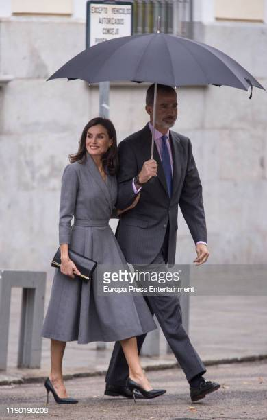 Queen Letizia of Spain and King Felipe of Spain are seen leaving Observatory Award Against Domestic and Gender Violence 2019 at Sede del Consejo...