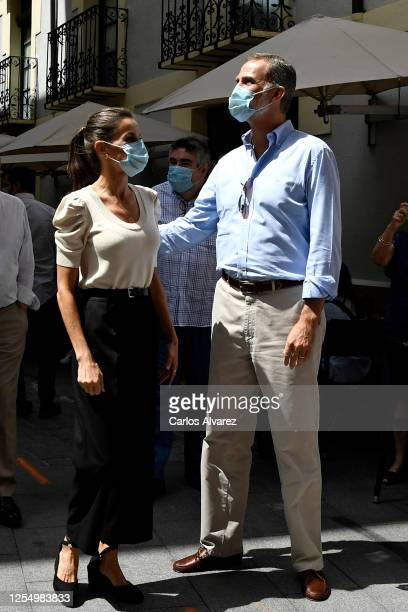 Queen Letizia of Spain and King Felipe of Spain are seen visiting the downtown area of Jaca and the Cathedral on July 08 2020 in Jaca Spain This trip...