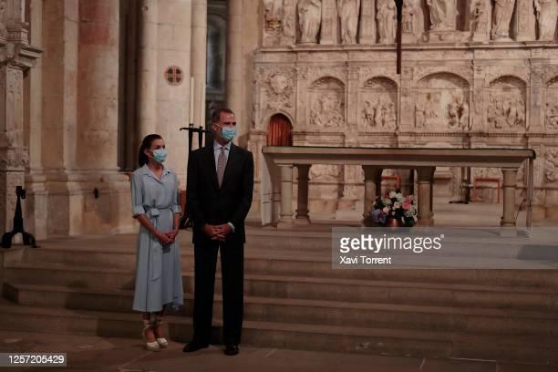 Queen Letizia of Spain and King Felipe of Spain are seen visiting the Royal Monastery of Santa Maria de Poblet on July 20 2020 in Tarragona Spain...
