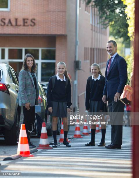Queen Letizia of Spain and King Felipe of Spain arrive at the 'Santa Maria de los Rosales' school on the first day of school of Princess Leonor and...