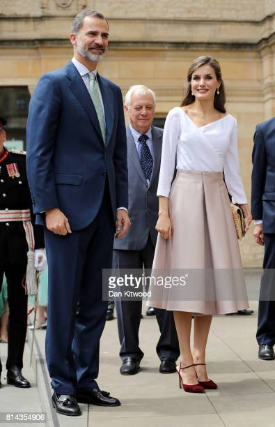 Queen Letizia of Spain and King Felipe of Spain arrive at the Weston Library during their State visit to the UK on July 14 2017 in Oxford England...
