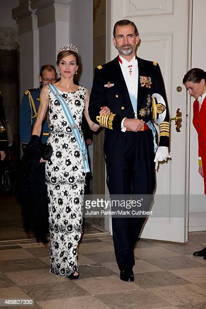 Queen Letizia of Spain and King Felipe of Spain attend a Gala Dinner at Christiansborg Palace on the eve of the 75th Birthday of Queen Margrethe of...