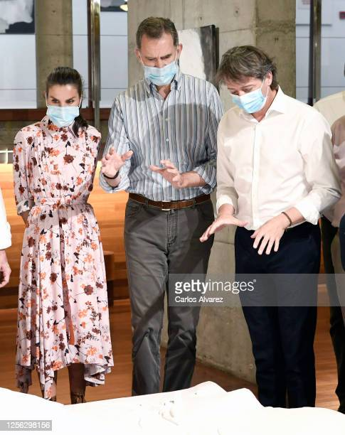 Queen Letizia of Spain and King Felipe of Spain during a visit to a cultural centere on July 15 2020 in Soria Spain This trip is part of a royal tour...