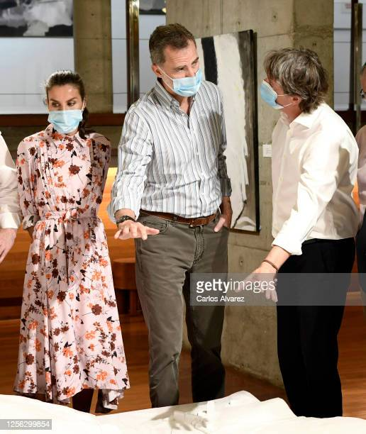 Queen Letizia of Spain and King Felipe of Spain during a visit to a cultural centre on July 15 2020 in Soria Spain This trip is part of a royal tour...