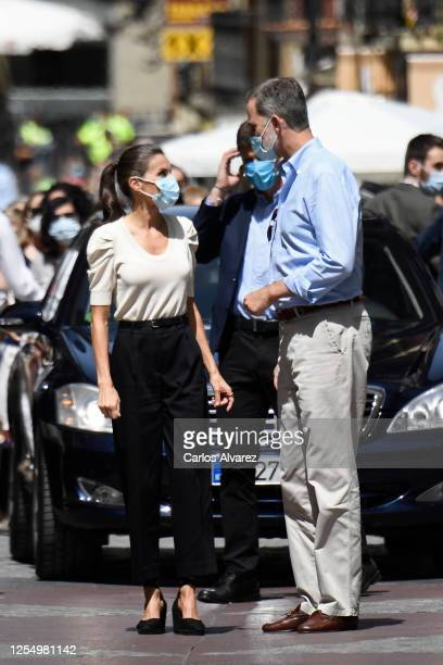 Queen Letizia of Spain and King Felipe of Spain during a visit to the downtown area of Jaca on July 08 2020 in Jaca Spain This trip is part of a...