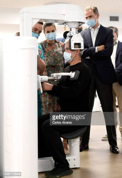 Queen Letizia of Spain and King Felipe of Spain during a visit to the new headquarters of the San Prudencio Foundation on July 17 2020 in Vitoria...