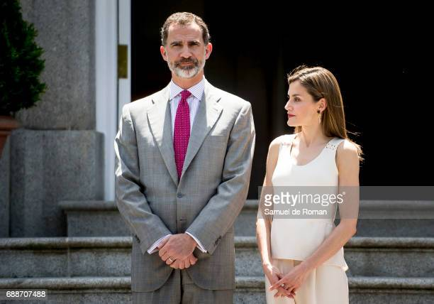 Queen Letizia of Spain and King Felipe of Spain host an Official Lunch For Marcelo Rebelo De Sousa at Zarzuela Palace on May 26, 2017 in Madrid,...