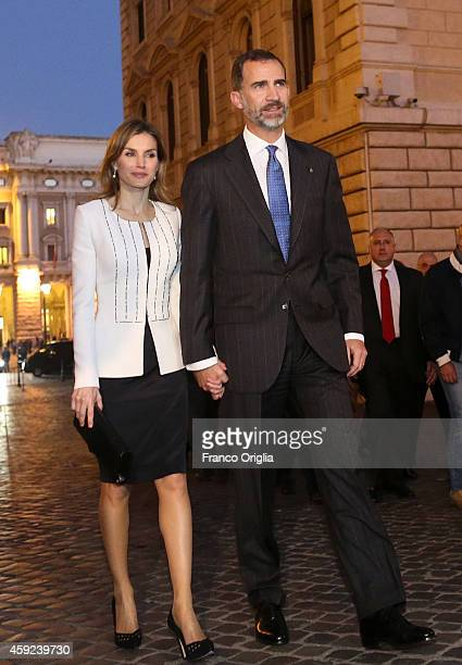Queen Letizia of Spain and King Felipe of Spain leave Palazzo Chigi after a meeting with Italian Prime Minister Matteo Renzi on November 19 2014 in...