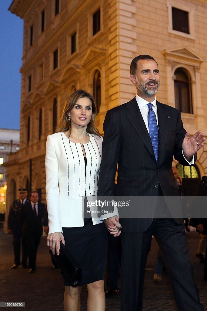 Queen Letizia of Spain and King Felipe of Spain leave Palazzo Chigi after a meeting with Italian Prime Minister Matteo Renzi on November 19, 2014 in Rome, Italy.