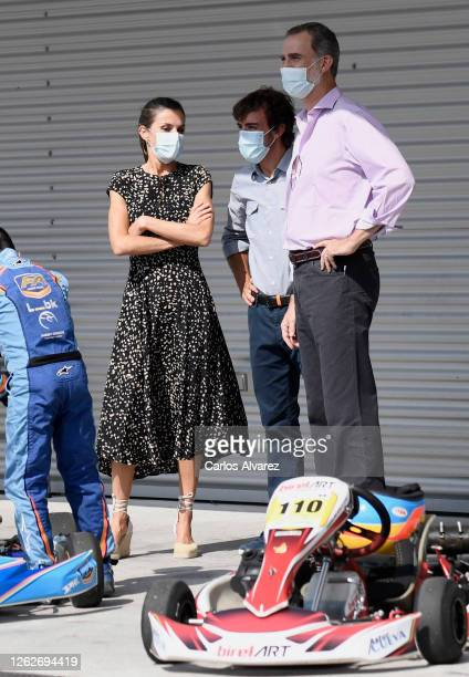 Queen Letizia of Spain and King Felipe of Spain speak with Fernando Alonso during a visit to the Fernando Alonso Museum and Circuit on July 30 2020...