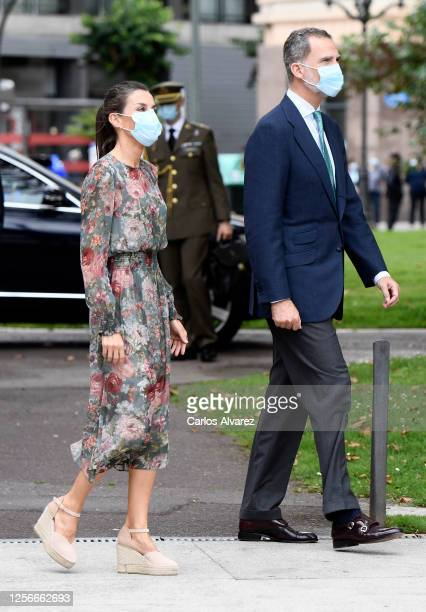 Queen Letizia of Spain and King Felipe of Spain wear face masks as they arrive for a visit to the Fine Arts Museum on July 17 2020 in Bilbao Spain...