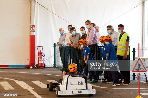 Queen Letizia of Spain and King Felipe of Spain with Fernando Alonso during a visit to the Fernando Alonso Museum and Circuit on July 30 2020 in...
