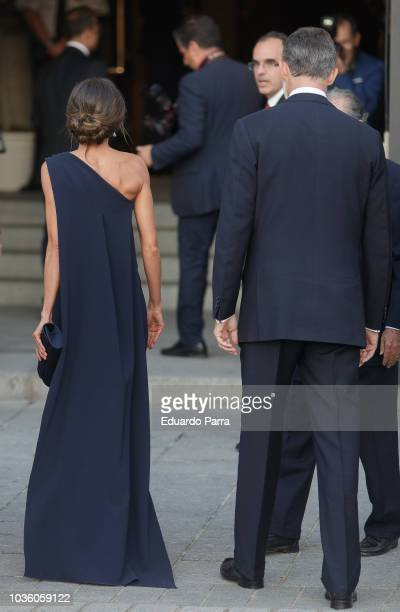 Queen Letizia of Spain and King Felipe VI arrive at Royal Theatre on September 19 2018 in Madrid Spain