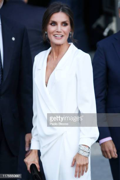 Queen Letizia of Spain and King Felipe VI arrive at Royal Theatre on September 18, 2019 in Madrid, Spain.