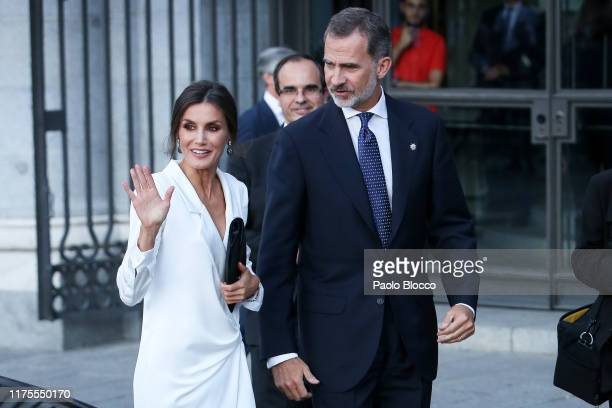 Queen Letizia of Spain and King Felipe VI of Spain arrive at Royal Theatre on September 18 2019 in Madrid Spain