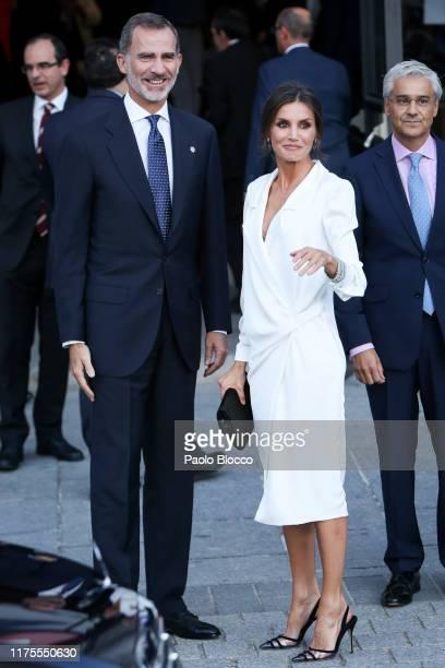 Queen Letizia of Spain and King Felipe VI of Spain arrive at Royal Theatre on September 18 2019 in Madrid Spain