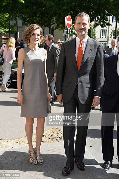 Queen Letizia of Spain and King Felipe VI of Spain arrive to attend a meeting at the Library of the Cervantes institute on June 4 2015 in Paris France