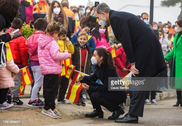 Queen Letizia of Spain and King Felipe VI of Spain attend a Caritas center in Brea de Tajo with the president of the Community of Madrid Isabel Diaz...