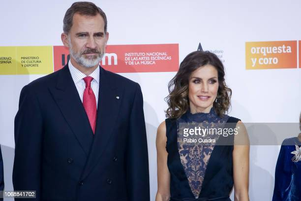 Queen Letizia of Spain and King Felipe VI of Spain attend a concert to commemorate the 40th anniversary of the Spanish Constitution at the 'Auditorio...