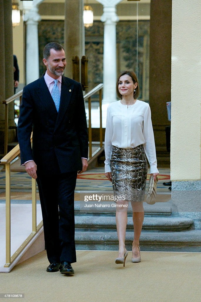Spanish Royals Attend a Meeting With Members Of 'Princesa de Asturias' Foundation : News Photo