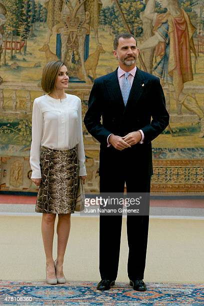 Queen Letizia of Spain and King Felipe VI of Spain attend a meeting with members of 'Princesa de Asturias' foundation at El Pardo Royal Palace on...