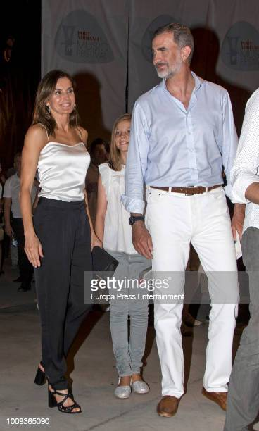 Queen Letizia of Spain and King Felipe VI of Spain attend Ara Malikian's concert at Port Adriano on August 1 2018 in Palma de Mallorca Spain