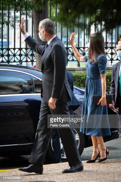 Queen Letizia of Spain and King Felipe VI of Spain attend 'Delibes' exhibition at the National Library on September 17 2020 in Madrid Spain