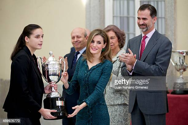 Queen Letizia of Spain and King Felipe VI of Spain attend National Sport Awards 2013 at Royal Palace of El Pardo on December 4 2014 in Madrid Spain