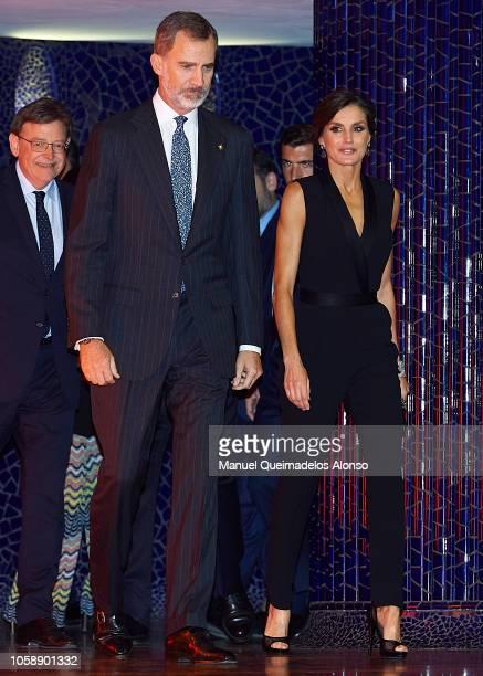 Queen Letizia of Spain and King Felipe VI of Spain attend 'Noche De la Economia Valenciana' at Palau de Les Arts on November 7 2018 in Valencia Spain