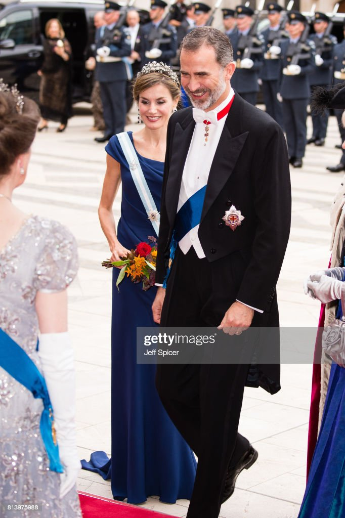 Queen Letizia of Spain and King Felipe VI of Spain attend the Lord Mayor's Banquet at the Guildhall during a State visit by the King and Queen of Spain on July 13, 2017 in London, England. This is the first state visit by the current King Felipe and Queen Letizia, the last being in 1986 with King Juan Carlos and Queen Sofia.