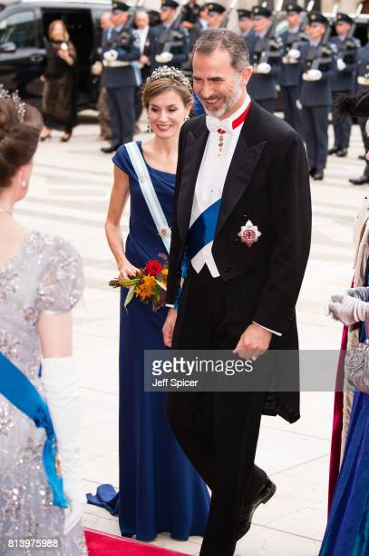 Queen Letizia of Spain and King Felipe VI of Spain attend the Lord Mayor's Banquet at the Guildhall during a State visit by the King and Queen of...