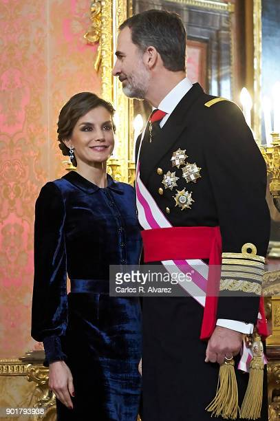 Queen Letizia of Spain and King Felipe VI of Spain attend the Pascua Militar ceremony at the Royal Palace on January 6 2018 in Madrid Spain