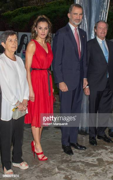 Queen Letizia of Spain and King Felipe VI of Spain attend the Premios Fundacion Princesa de Girona on June 28, 2018 in Girona, Spain.