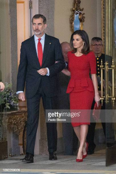 Queen Letizia of Spain and King Felipe VI of Spain attend the National Sports Awards 2017 at the El Pardo Palace on January 10, 2019 in Madrid, Spain.
