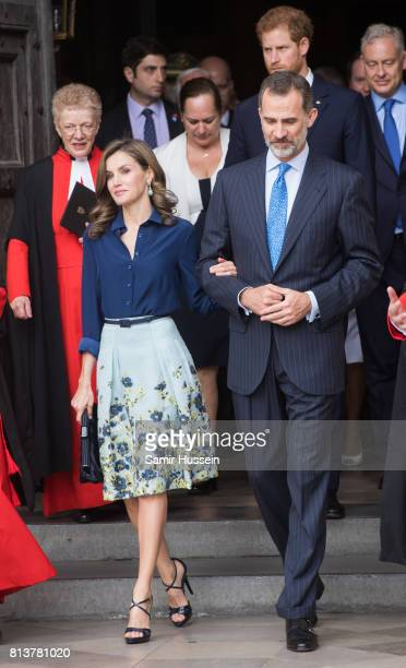 Queen Letizia of Spain and King Felipe VI of Spain depart Westminster Abbey during a State visit by the King and Queen of Spain on July 13 2017 in...