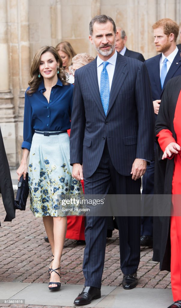 Queen Letizia of Spain and King Felipe VI of Spain depart Westminster Abbey during a State visit by the King and Queen of Spain on July 13, 2017 in London, England. This is the first state visit by the current King Felipe and Queen Letizia, the last being in 1986 with King Juan Carlos and Queen Sofia.