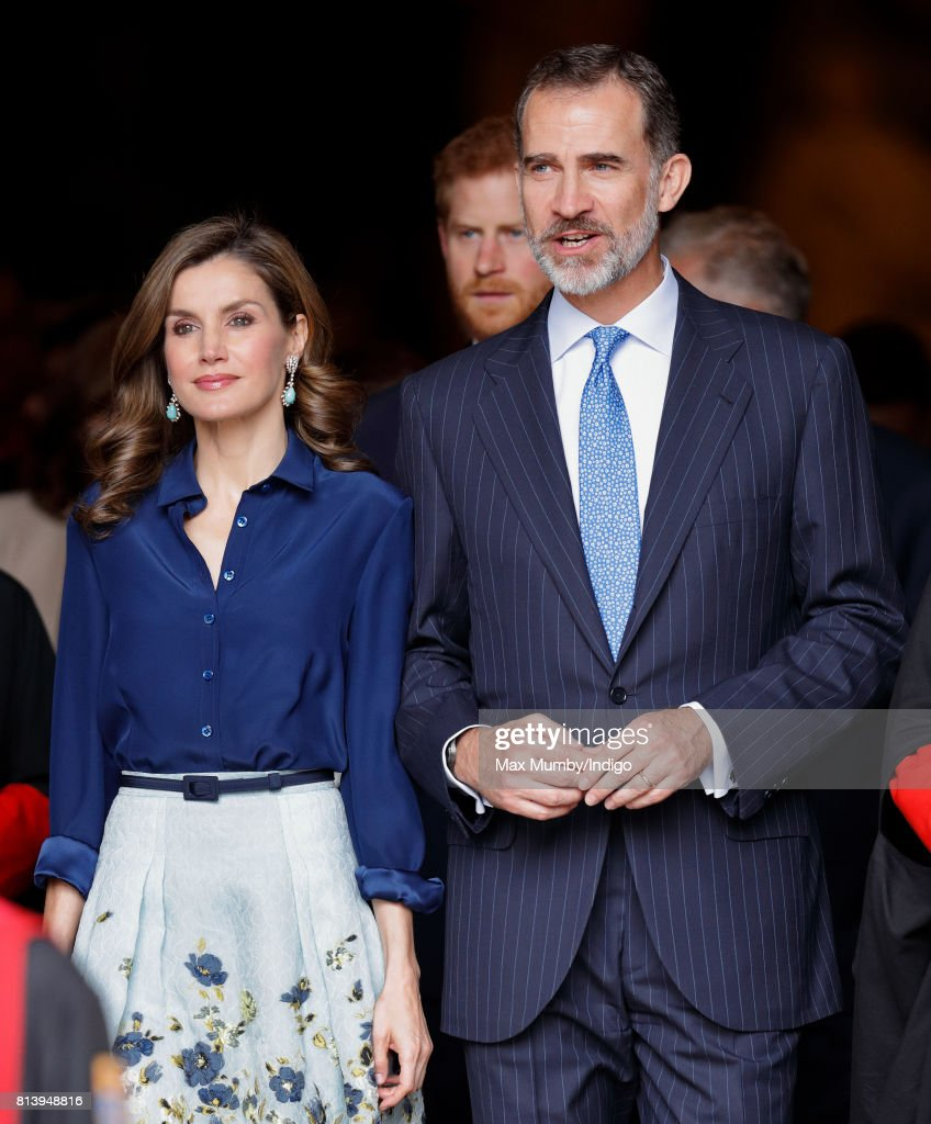 Queen Letizia of Spain and King Felipe VI of Spain depart Westminster Abbey after laying a wreath at the Grave of the Unknown Warrior during day 2 of the Spanish State Visit to the United Kingdom on July 13, 2017 in London, England. This is the first State Visit by the current King Felipe and Queen Letizia, the last being in 1986 with King Juan Carlos and Queen Sofia.