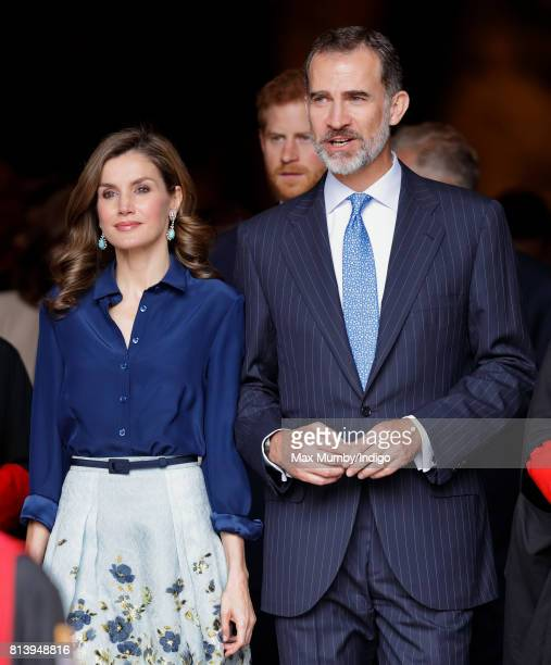 Queen Letizia of Spain and King Felipe VI of Spain depart Westminster Abbey after laying a wreath at the Grave of the Unknown Warrior during day 2 of...