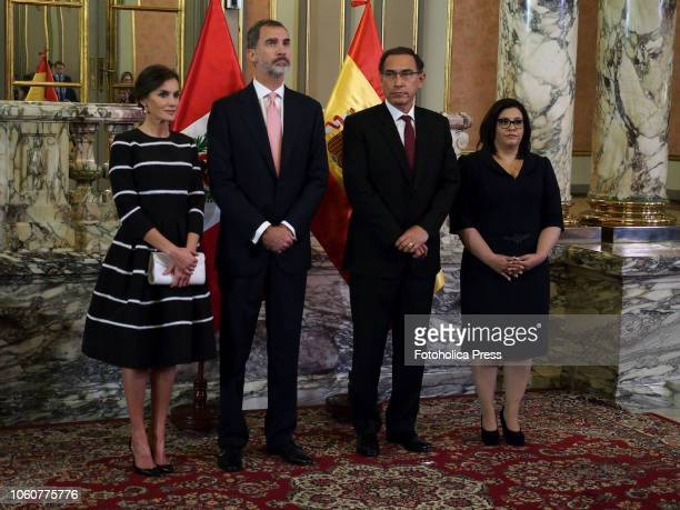 Queen Letizia of Spain and King Felipe VI of Spain pose for pictures with Peruvian President Martin Vizcarra and First Lady Maribel Diaz upon their...